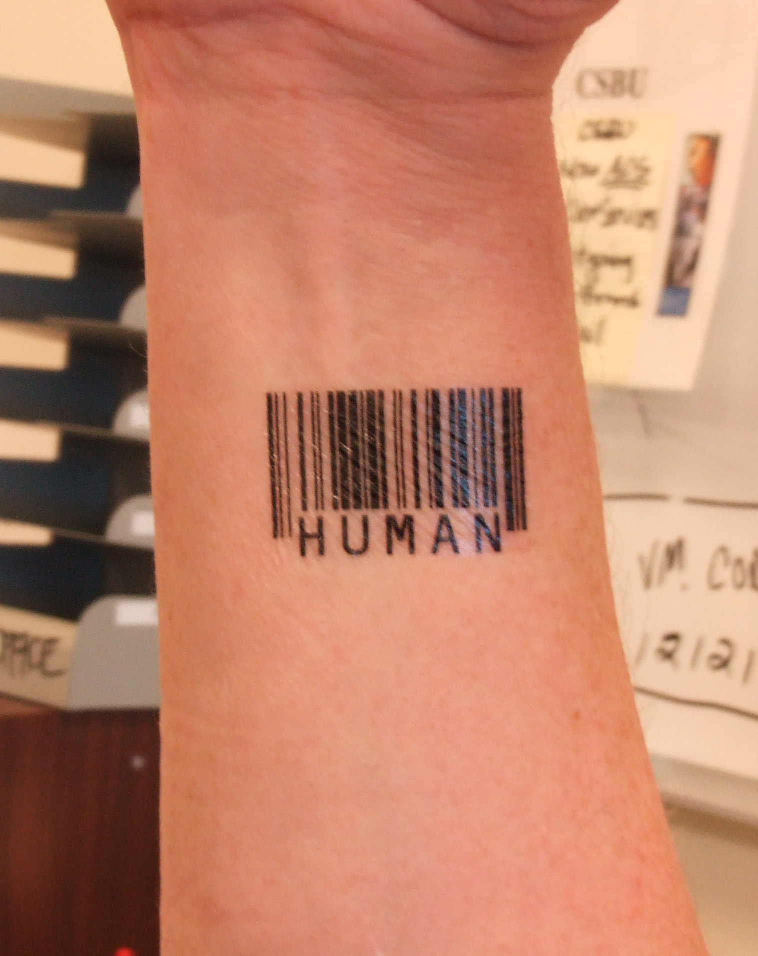 Barcode tattoo prostitute